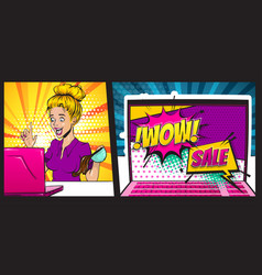 Comic book blond surprise woman pop art vector