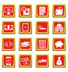 credit icons set red vector image