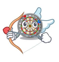 cupid dartboard stuck to the cartoon wall vector image