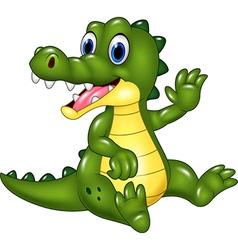 Cute crocodile waving hand isolated vector