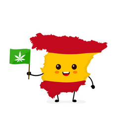 cute funny smiling happy spain map vector image