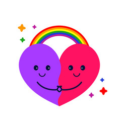 cute heart hug and rainbow vector image