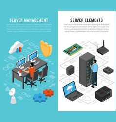 Datacenter isometric vertical banners vector