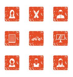 design work icons set grunge style vector image