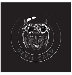 devil team devil helmet circle frame background ve vector image