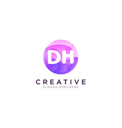 Dh initial logo with colorful circle template vector