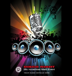 disco dancing singer night background vector image