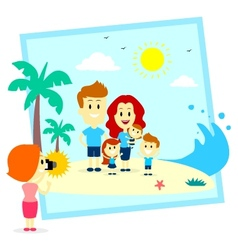 Family Fun Photo Shoot At The Beach vector image
