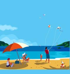 Family seaside leisure relax ocean scene view vector