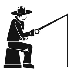 Fisherman with a fishing rod icon simple style vector