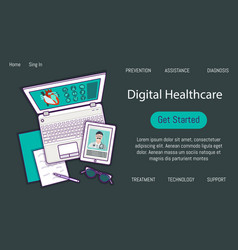 Flat icon digital healthcare banner vector