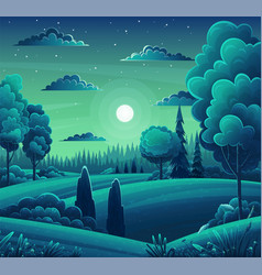 forest night landscape field trees bushes mixed vector image