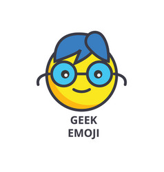 geek emoji line icon sign on vector image