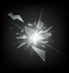 Glass shards flying apart in light rays realistic vector