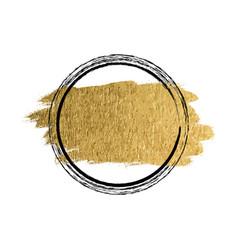 golden paint ink brush stroke brush line vector image