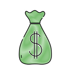 grated bag with dollar money symbol currency vector image
