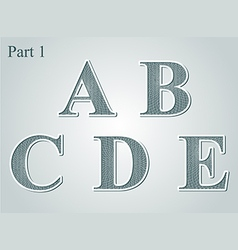 Guilloche letters ABCDE vector