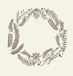 hand drawn christmas natural wreath vector image
