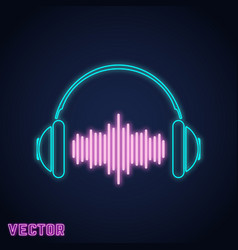 Headphone sign neon light design vector