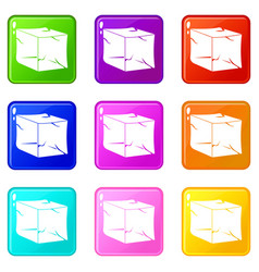 ice icons 9 set vector image