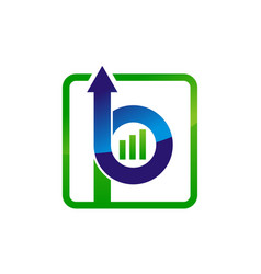 letter b p up arrow vector image