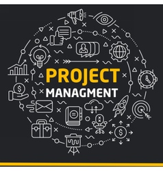 lines icons circle project managment vector image