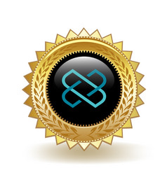 Loom network cryptocurrency coin gold badge vector