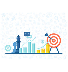 Marketing strategy banner in flat style vector