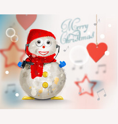 Merry christmas card with cute snowman vector