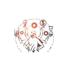 Multitasking time management concept sketch hand vector