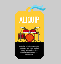 music tag with drums vector image