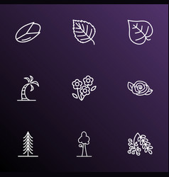 Nature icons line style set with pistachio vector