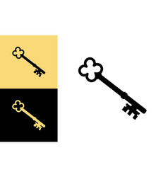 old key house icon logo key silhouette vector image