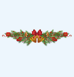 ornate christmas decoration border made fir vector image