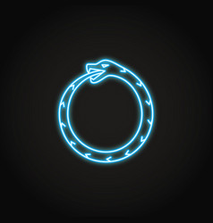 Ouroboros snake icon in glowing neon style vector
