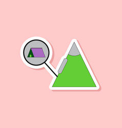 Paper sticker on stylish background tent tourists vector