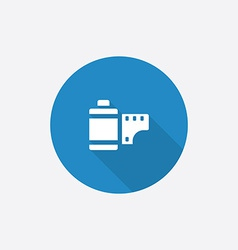 photo film Flat Blue Simple Icon with long shadow vector image