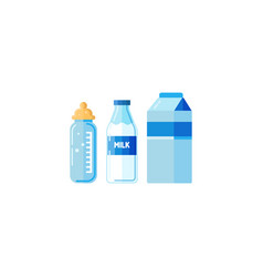 plastic milk bottle set isolated vector image