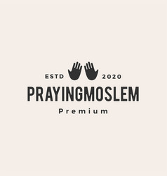 praying moslem hipster vintage logo icon vector image