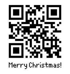 qr code sample with text merry christmas vector image