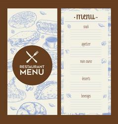Restaurant menu vintage design vector