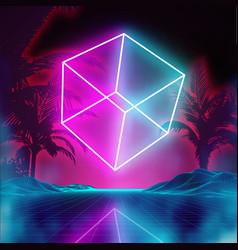 Retro futuristic background for game music 3d vector