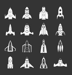 rocket icons set grey vector image