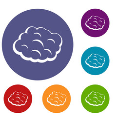 Round cloud icons set vector
