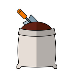 sand bag with shovel isolated icon vector image