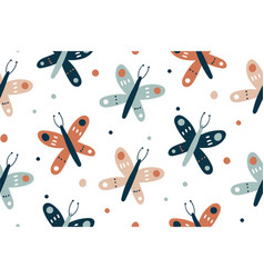 seamless pattern with butterflies design and hand vector image