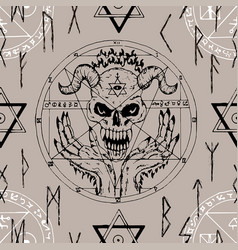 Seamless pattern with devil face pentagram vector