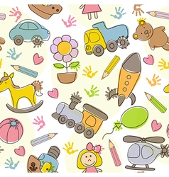 seamless pattern with kids drawings vector image