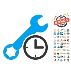 Service Time Icon With 2017 Year Bonus Symbols vector image