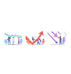 Set businesspeople frustrated about economic arrow vector
